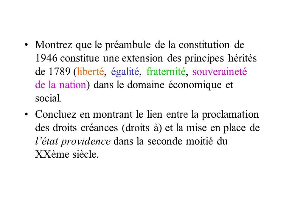 Montrez que le préambule de la constitution de 1946 constitue une extension des principes hérités de 1789 (liberté, égalité, fraternité, souveraineté de la nation) dans le domaine économique et social.