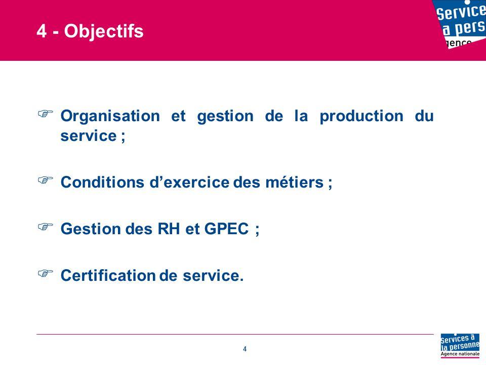 4 4 - Objectifs  Organisation et gestion de la production du service ;  Conditions d'exercice des métiers ;  Gestion des RH et GPEC ;  Certification de service.