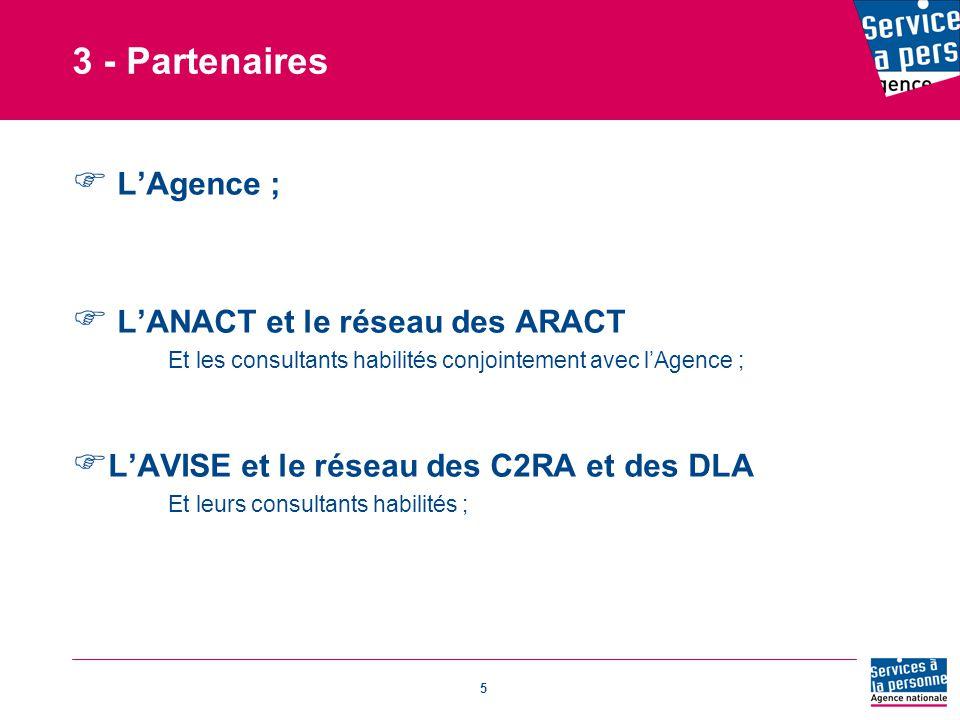 5 3 - Partenaires  L'Agence ;  L'ANACT et le réseau des ARACT Et les consultants habilités conjointement avec l'Agence ;  L'AVISE et le réseau des C2RA et des DLA Et leurs consultants habilités ;