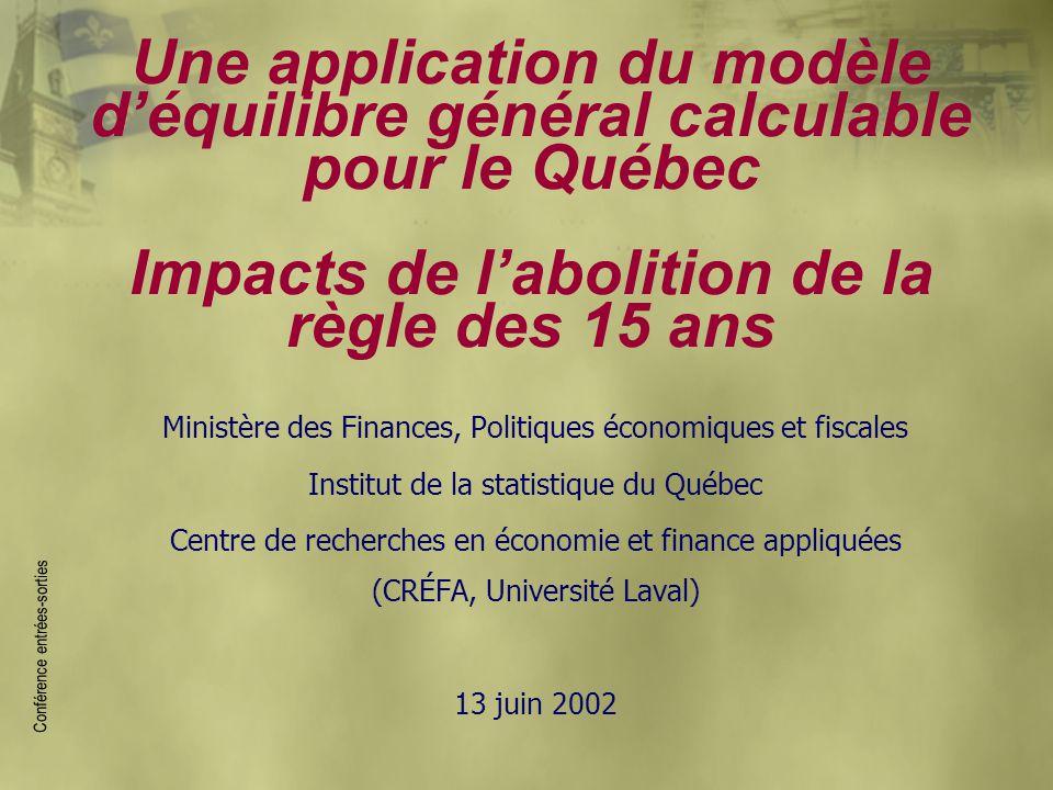 Une application du modèle d'équilibre général calculable pour le Québec Impacts de l'abolition de la règle des 15 ans Ministère des Finances, Politiqu