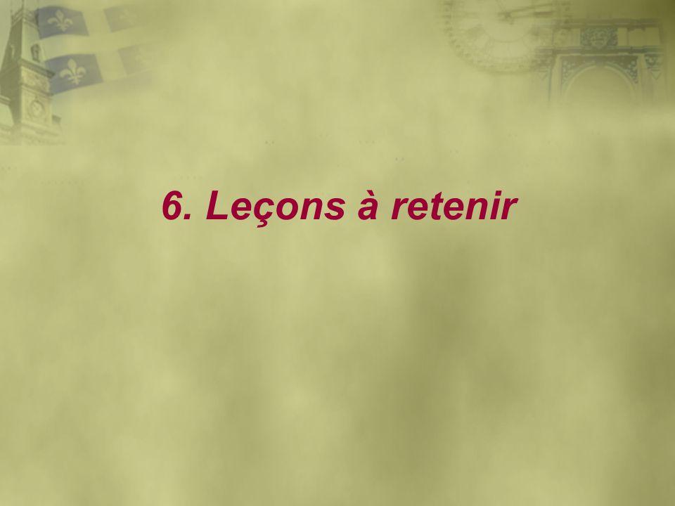 6. Leçons à retenir