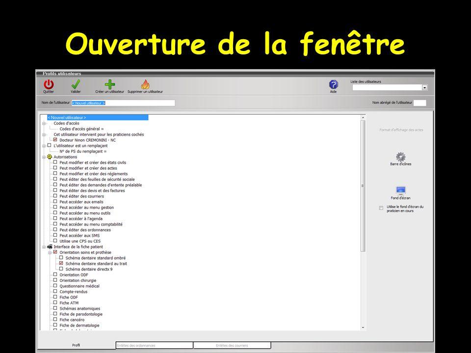 Dans la rubrique Interface de la fiche patient , on définit l'aspect que prendra la fiche patient pour l'utilisateur