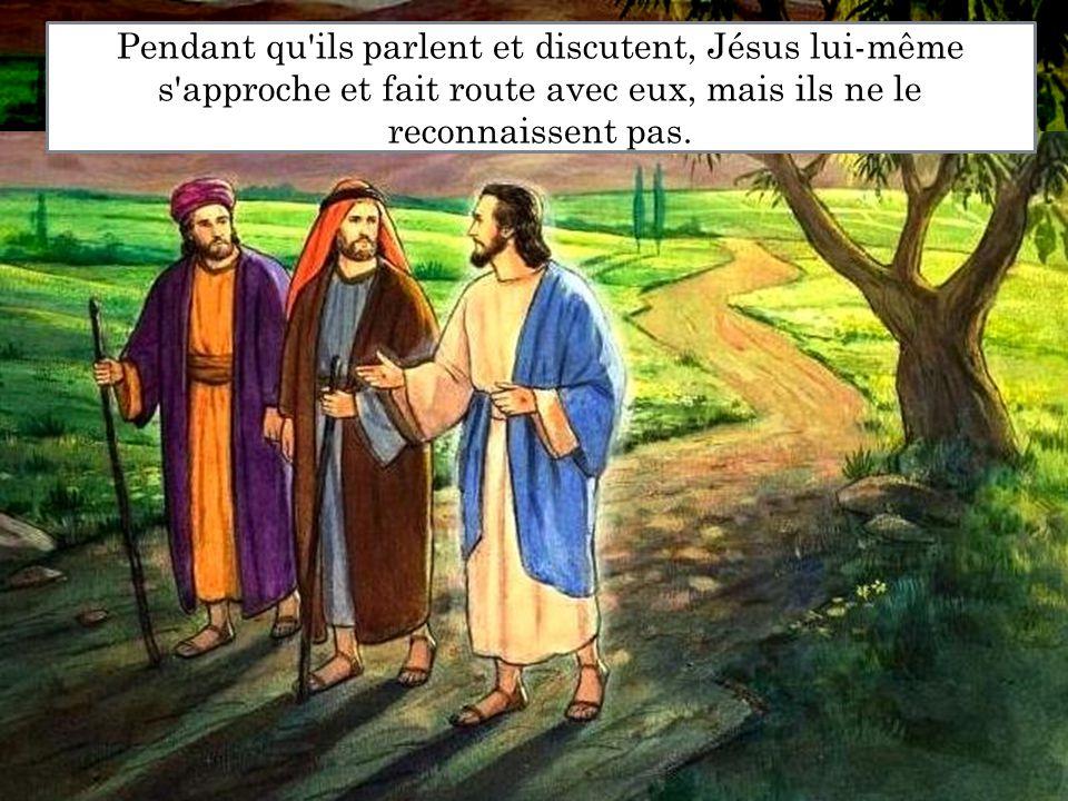 Pendant qu'ils parlent et discutent, Jésus lui-même s'approche et fait route avec eux, mais ils ne le reconnaissent pas.