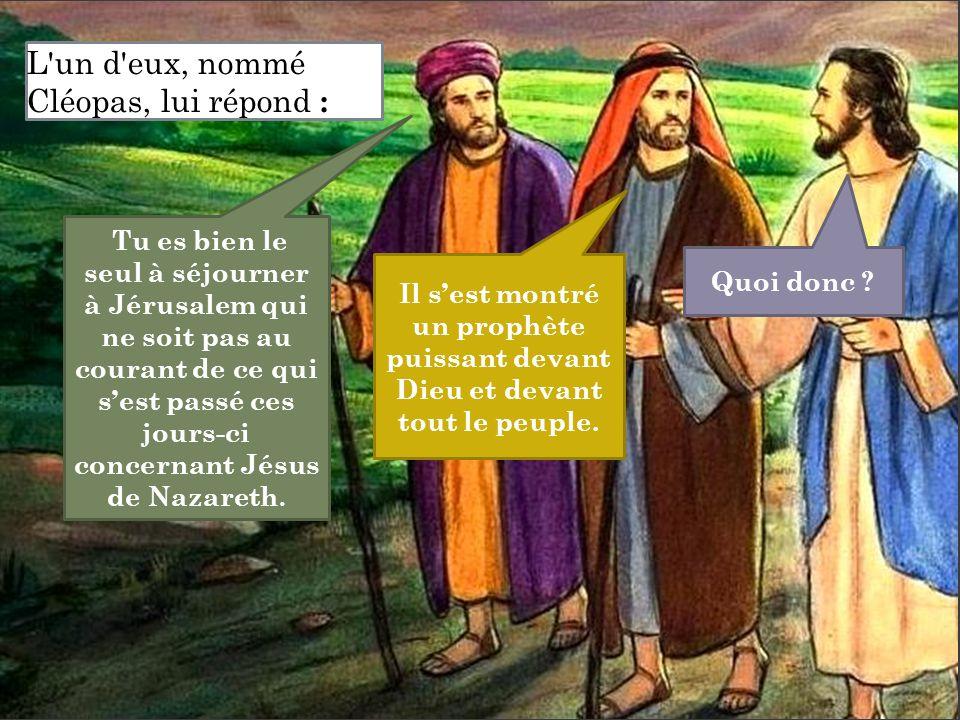Tu es bien le seul à séjourner à Jérusalem qui ne soit pas au courant de ce qui s'est passé ces jours-ci concernant Jésus de Nazareth. Quoi donc ? Il