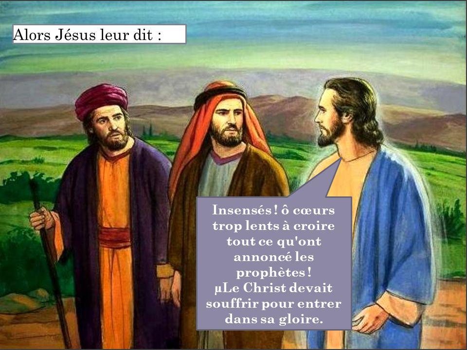 Insensés ! ô cœurs trop lents à croire tout ce qu'ont annoncé les prophètes ! µLe Christ devait souffrir pour entrer dans sa gloire. Alors Jésus leur