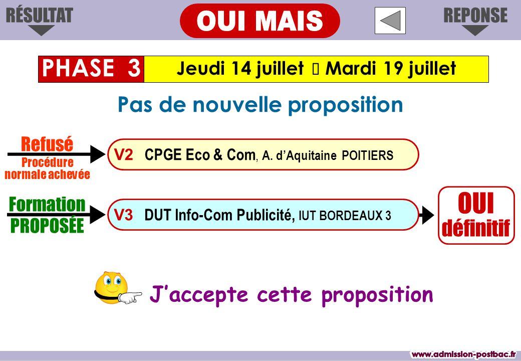 OUI définitif J'accepte cette proposition Jeudi 14 juillet  Mardi 19 juillet PHASE 3 REPONSERÉSULTAT Formation PROPOSÉE V3 DUT Info-Com Publicité, IUT BORDEAUX 3 V2 CPGE Eco & Com, A.