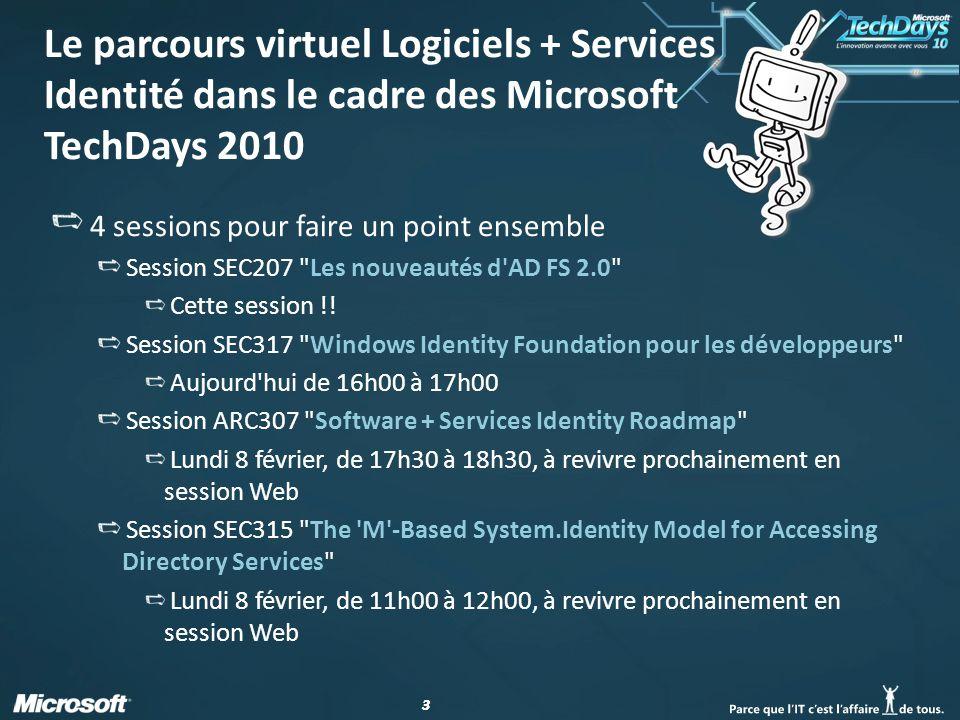 64 Pour aller plus loin… Centre de développement MSDN Sécurité pour la gestion de l identité http://msdn.microsoft.com/security/aa570351.aspx Forum Geneva http://social.msdn.microsoft.com/Forums/en-US/Geneva/threads/ Weblogs Blog Geneva Team http://blogs.msdn.com/card/ Blog Documentation AD FS http://blogs.technet.com/adfs_documentation Blog Support Produit AD FS http://blogs.technet.com/adfs