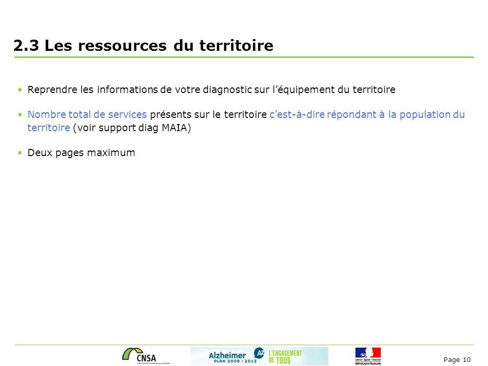 Page 10 2.3 Les ressources du territoire Reprendre les informations de votre diagnostic sur l'équipement du territoire Nombre total de services présen
