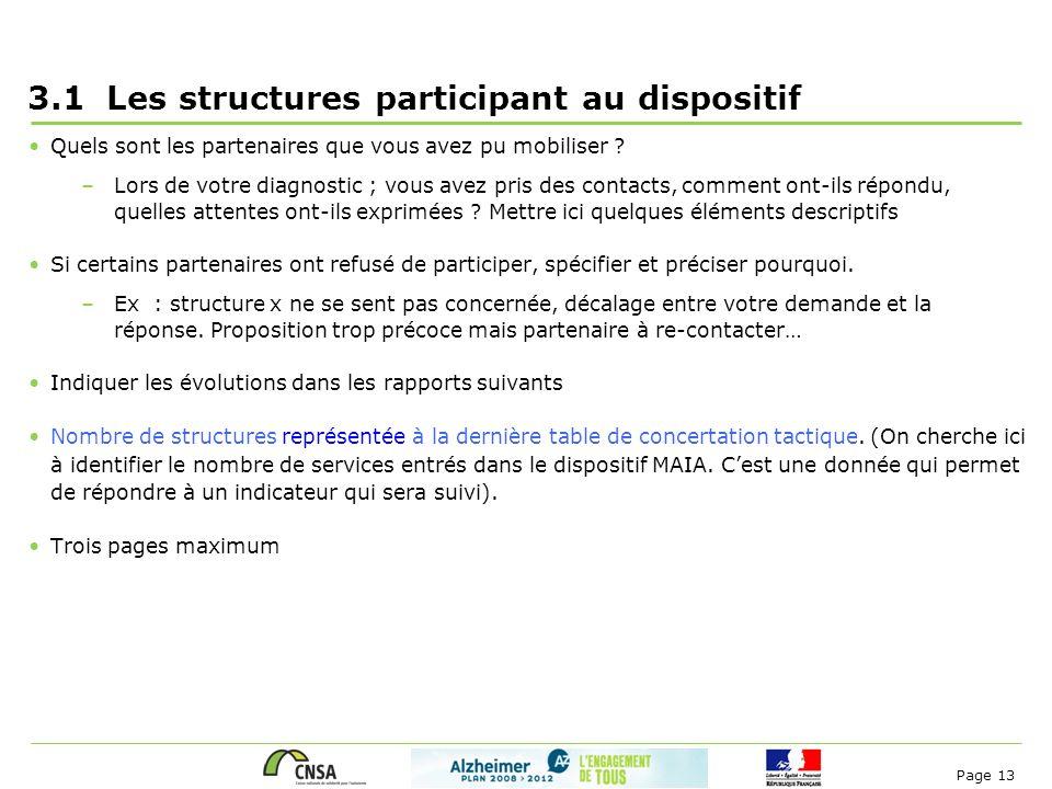 Page 13 3.1 Les structures participant au dispositif Quels sont les partenaires que vous avez pu mobiliser ? –Lors de votre diagnostic ; vous avez pri