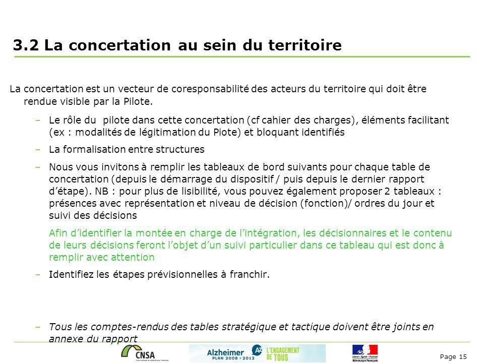 Page 15 3.2 La concertation au sein du territoire La concertation est un vecteur de coresponsabilité des acteurs du territoire qui doit être rendue vi