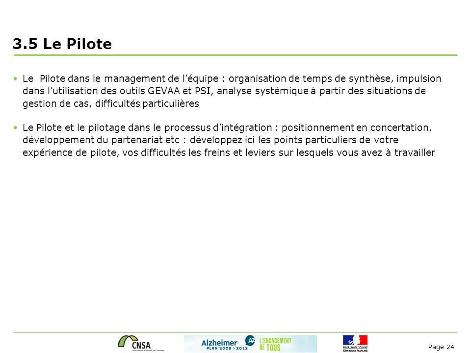 Page 24 3.5 Le Pilote Le Pilote dans le management de l'équipe : organisation de temps de synthèse, impulsion dans l'utilisation des outils GEVAA et P