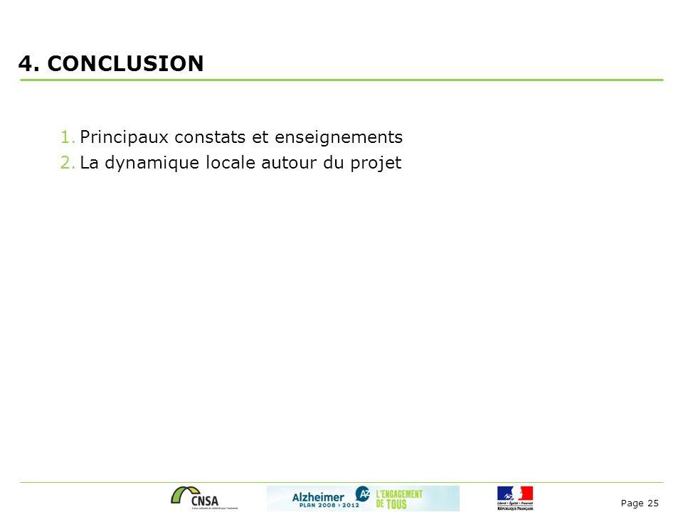 Page 25 4. CONCLUSION 1.Principaux constats et enseignements 2.La dynamique locale autour du projet