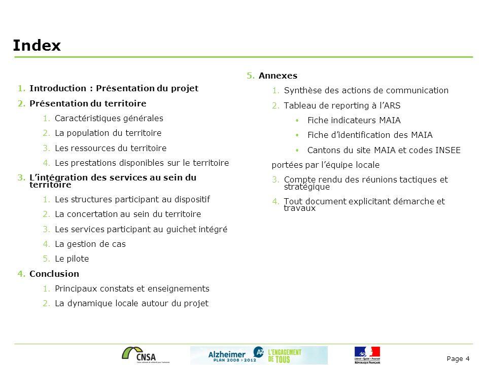 Page 4 Index 1.Introduction : Présentation du projet 2.Présentation du territoire 1.Caractéristiques générales 2.La population du territoire 3.Les res