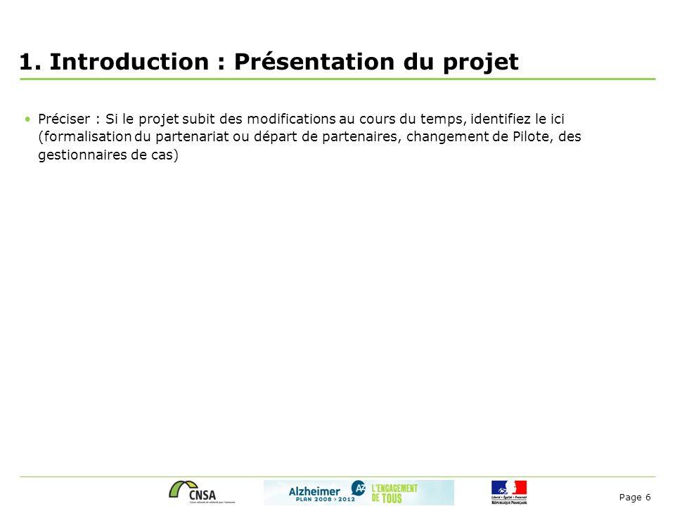 Page 6 1. Introduction : Présentation du projet Préciser : Si le projet subit des modifications au cours du temps, identifiez le ici (formalisation du