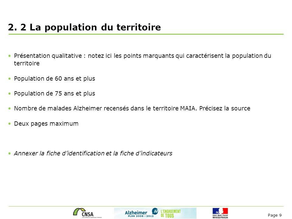 Page 9 2. 2 La population du territoire Présentation qualitative : notez ici les points marquants qui caractérisent la population du territoire Popula