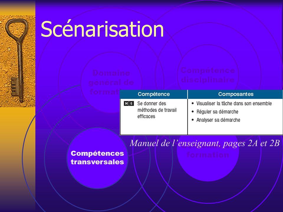 Contenus de formation Compétences transversales Domaine général de formation Compétence disciplinaire Scénarisation Manuel de l'enseignant, pages 2A et 2B