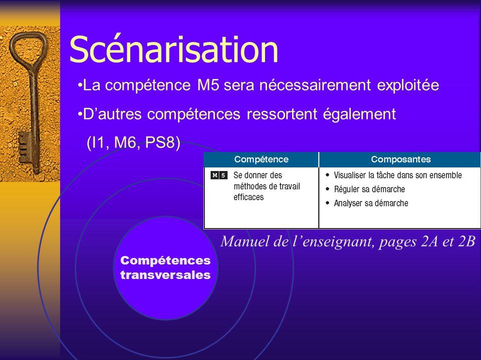 Compétences transversales La compétence M5 sera nécessairement exploitée D'autres compétences ressortent également (I1, M6, PS8) Manuel de l'enseignant, pages 2A et 2B Scénarisation