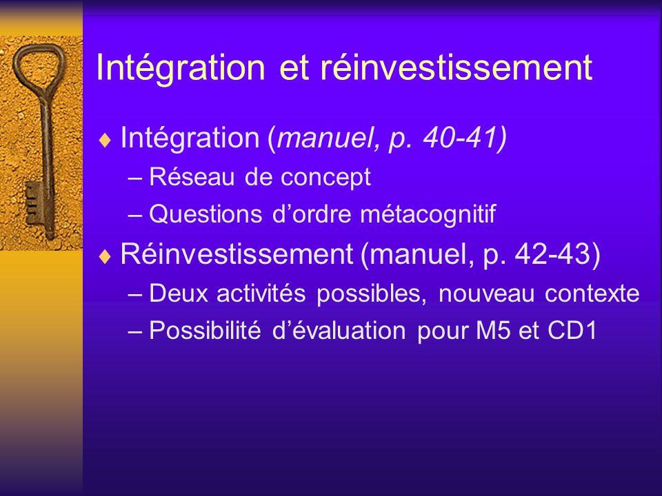 Intégration et réinvestissement  Intégration (manuel, p.