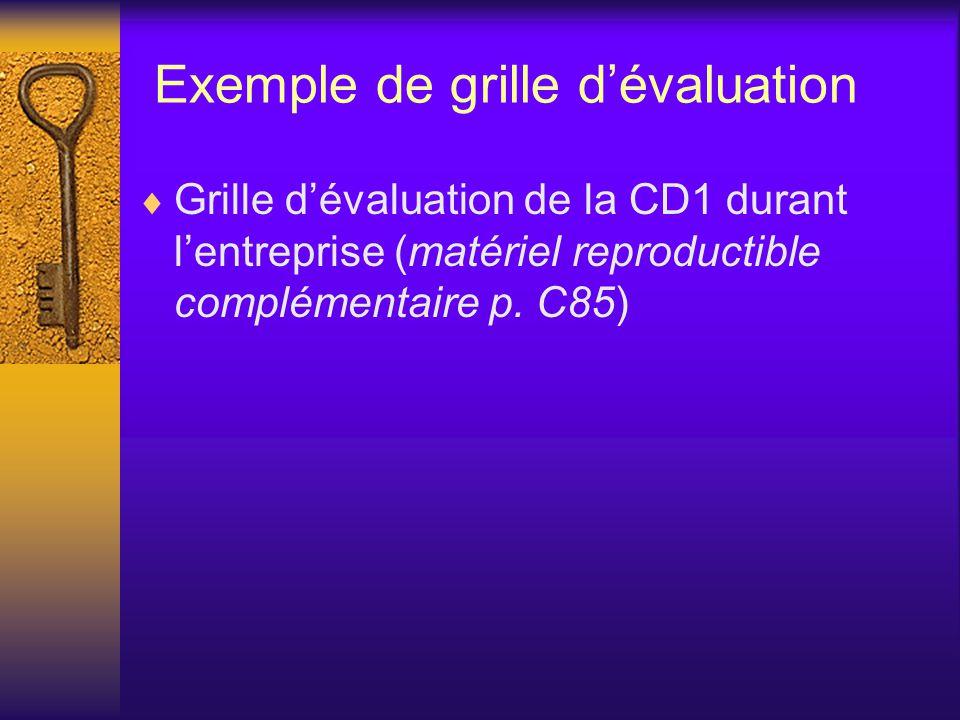 Exemple de grille d'évaluation  Grille d'évaluation de la CD1 durant l'entreprise (matériel reproductible complémentaire p.