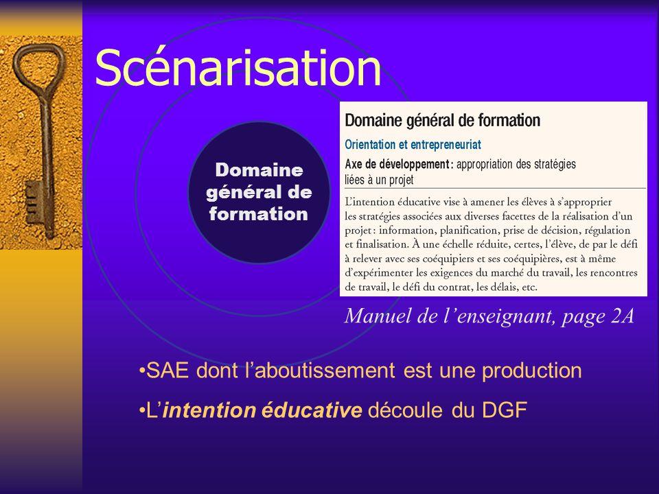 Domaine général de formation Manuel de l'enseignant, page 2A SAE dont l'aboutissement est une production L'intention éducative découle du DGF Scénarisation