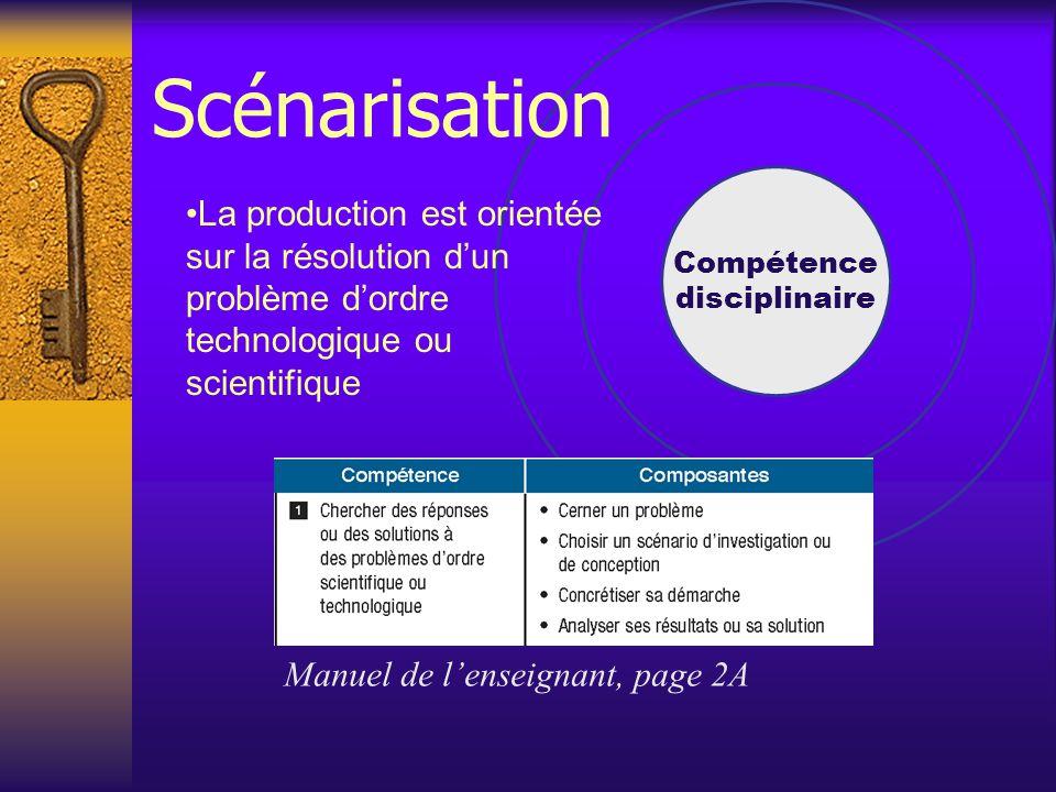 Compétence disciplinaire Manuel de l'enseignant, page 2A La production est orientée sur la résolution d'un problème d'ordre technologique ou scientifique Scénarisation