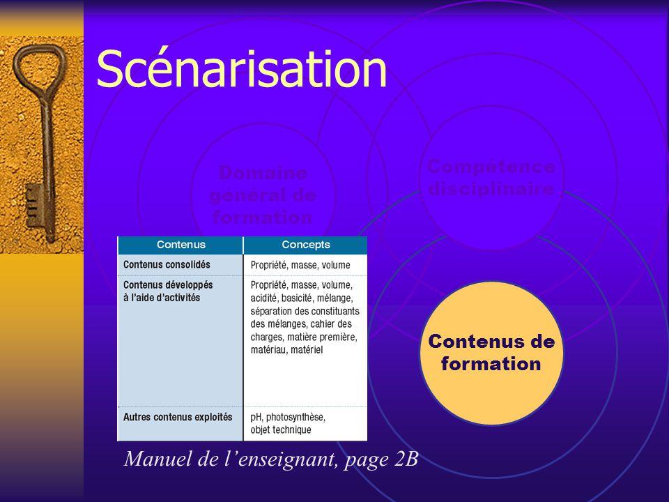 Contenus de formation Manuel de l'enseignant, page 2B Domaine général de formation Compétence disciplinaire Scénarisation