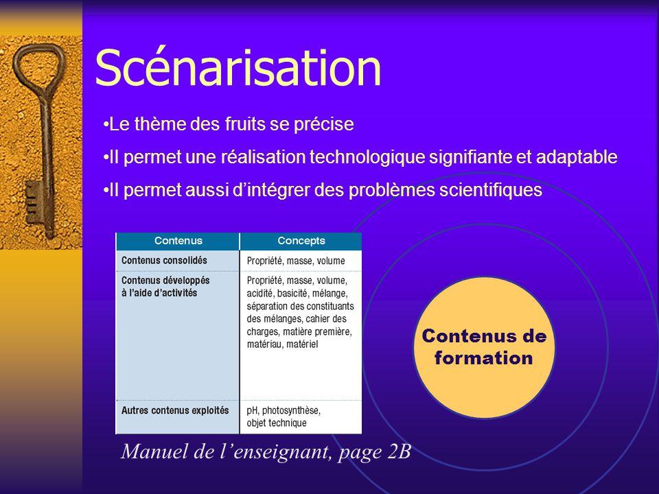 Contenus de formation Manuel de l'enseignant, page 2B Le thème des fruits se précise Il permet une réalisation technologique signifiante et adaptable Il permet aussi d'intégrer des problèmes scientifiques Scénarisation
