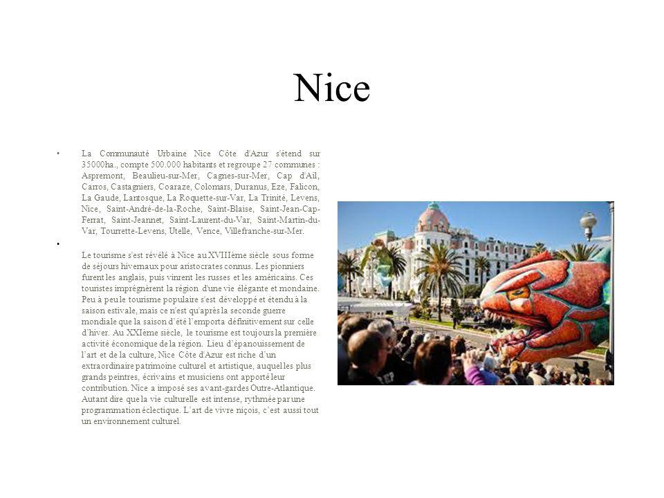 Nice La Communauté Urbaine Nice Côte d'Azur s'étend sur 35000ha., compte 500.000 habitants et regroupe 27 communes : Aspremont, Beaulieu-sur-Mer, Cagn