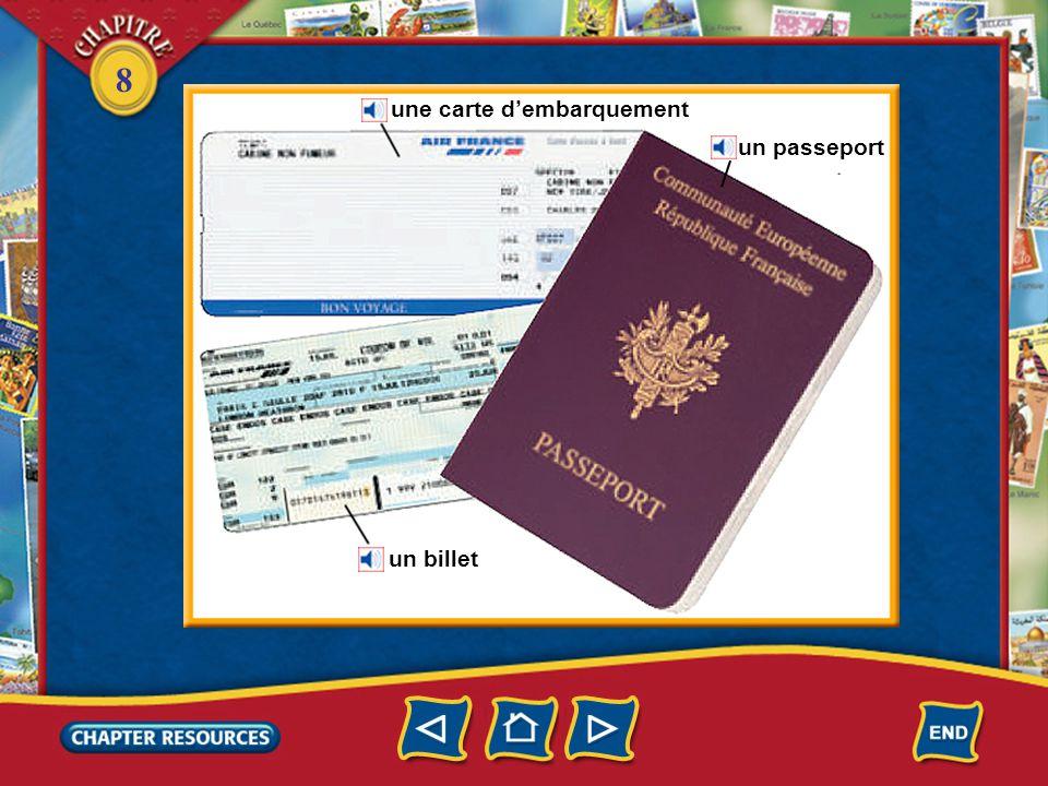 8 une carte d'embarquement un passeport un billet