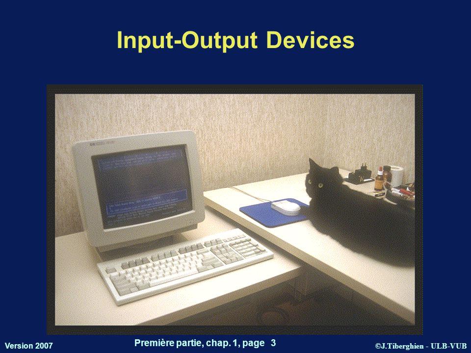 ©J.Tiberghien - ULB-VUB Version 2007 Première partie, chap. 1, page 3 Input-Output Devices