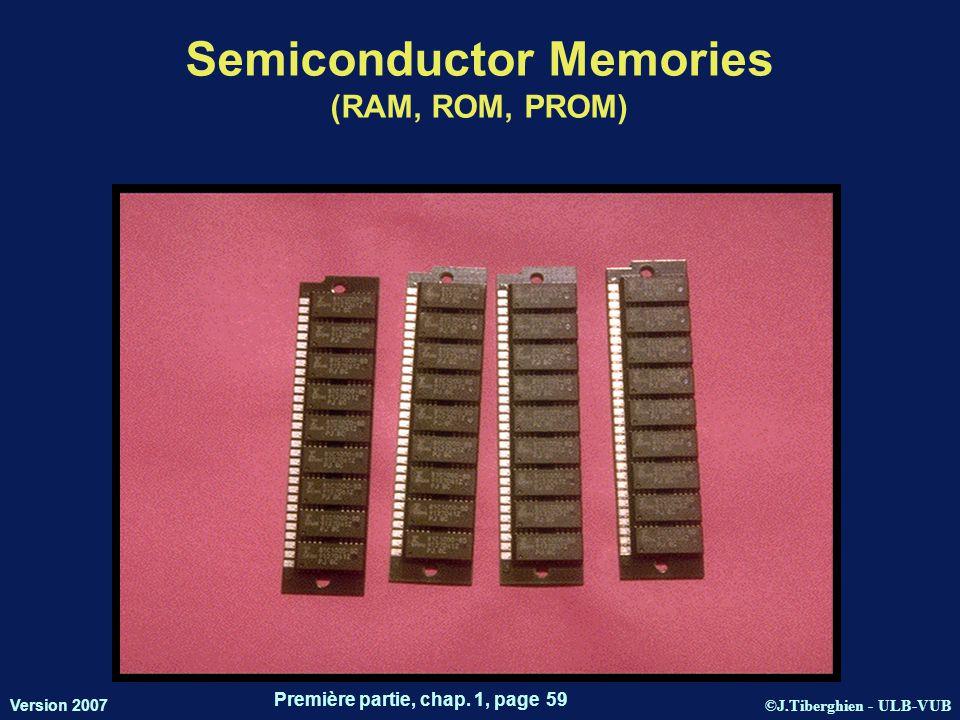 ©J.Tiberghien - ULB-VUB Version 2007 Première partie, chap. 1, page 59 Semiconductor Memories (RAM, ROM, PROM) 083