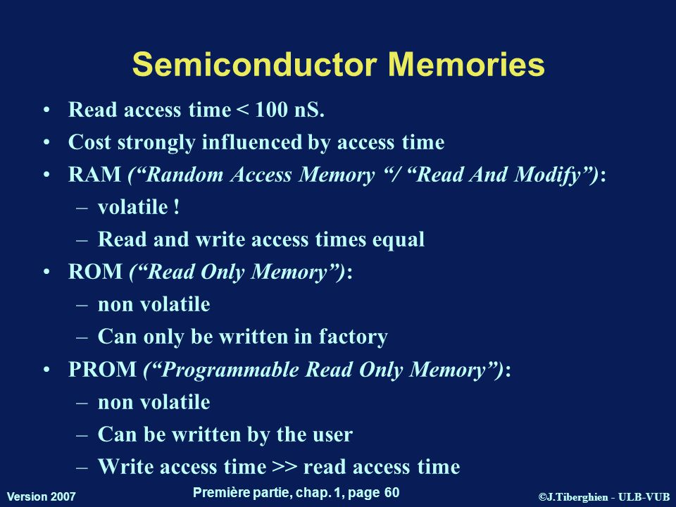 ©J.Tiberghien - ULB-VUB Version 2007 Première partie, chap. 1, page 60 Semiconductor Memories Read access time < 100 nS. Cost strongly influenced by a