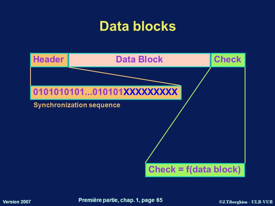 ©J.Tiberghien - ULB-VUB Version 2007 Première partie, chap. 1, page 65 Data blocks HeaderData BlockCheck 0101010101...010101XXXXXXXXX Check = f(data b