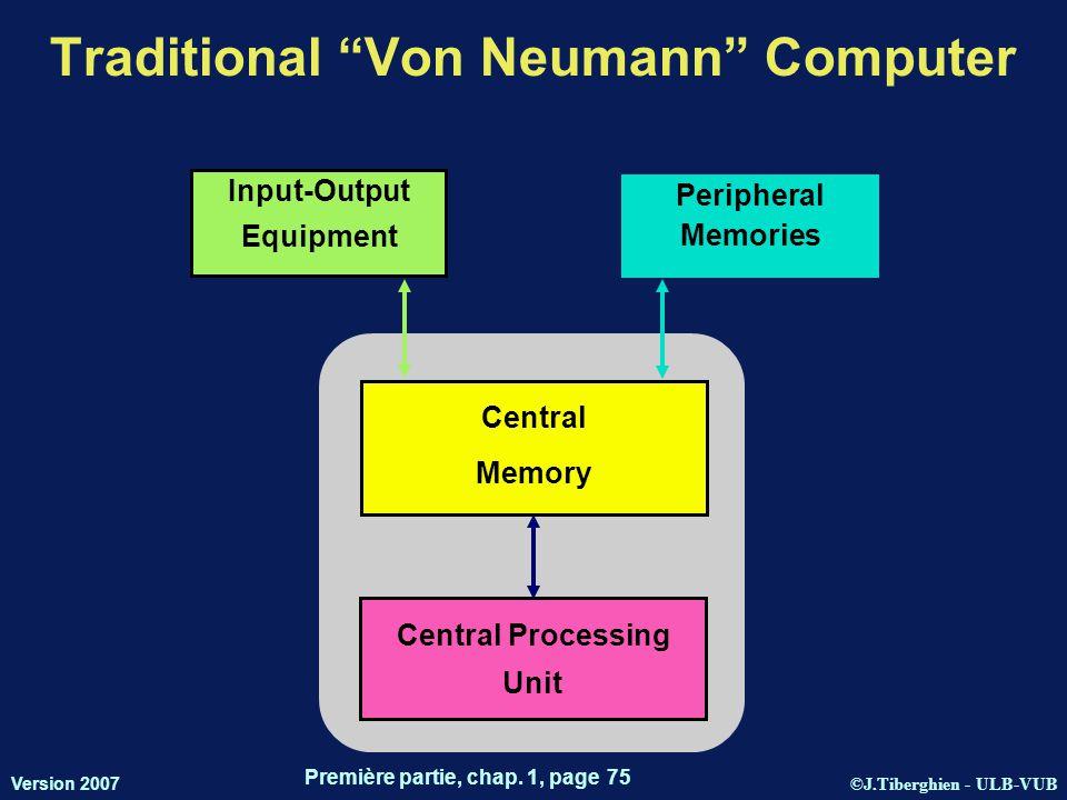 "©J.Tiberghien - ULB-VUB Version 2007 Première partie, chap. 1, page 75 Traditional ""Von Neumann"" Computer Input-Output Equipment Central Memory Centra"