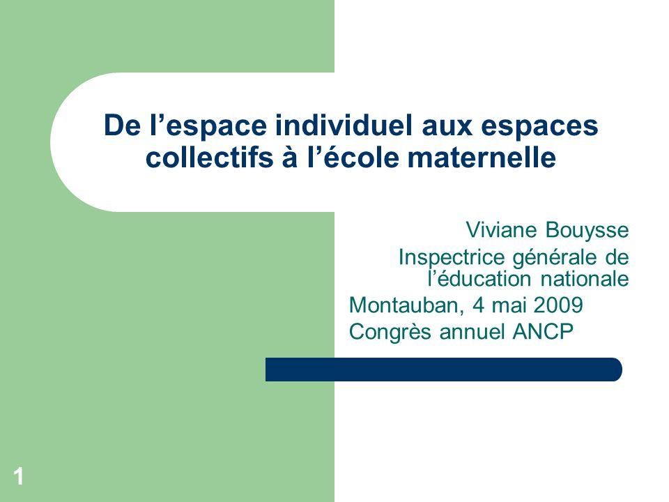 1 De l'espace individuel aux espaces collectifs à l'école maternelle Viviane Bouysse Inspectrice générale de l'éducation nationale Montauban, 4 mai 2009 Congrès annuel ANCP