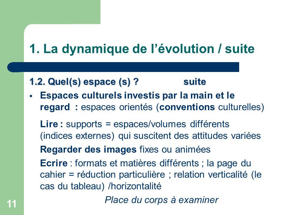 11 1.La dynamique de l'évolution / suite 1.2. Quel(s) espace (s) .