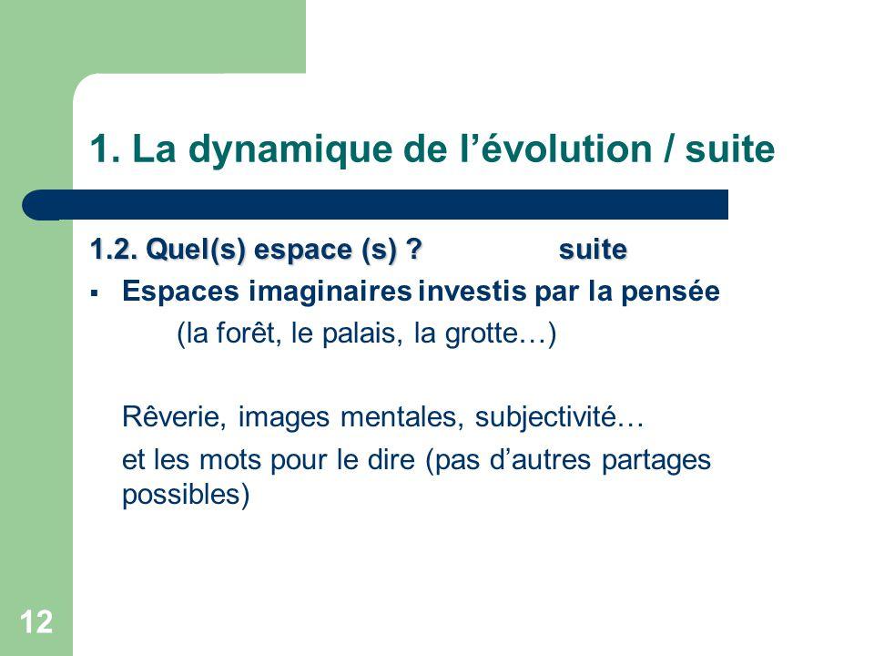 12 1.La dynamique de l'évolution / suite 1.2. Quel(s) espace (s) .
