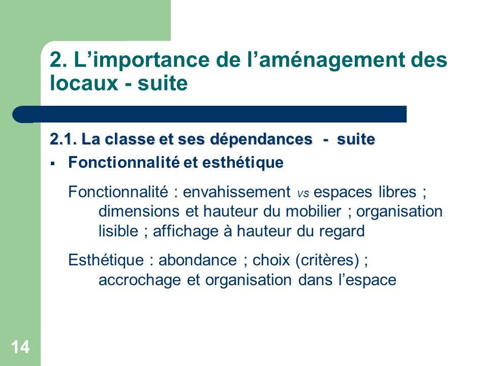 14 2.L'importance de l'aménagement des locaux - suite 2.1.
