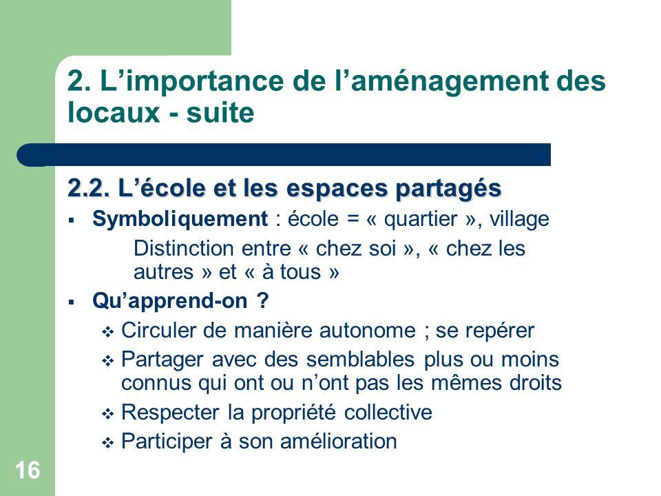 16 2.L'importance de l'aménagement des locaux - suite 2.2.