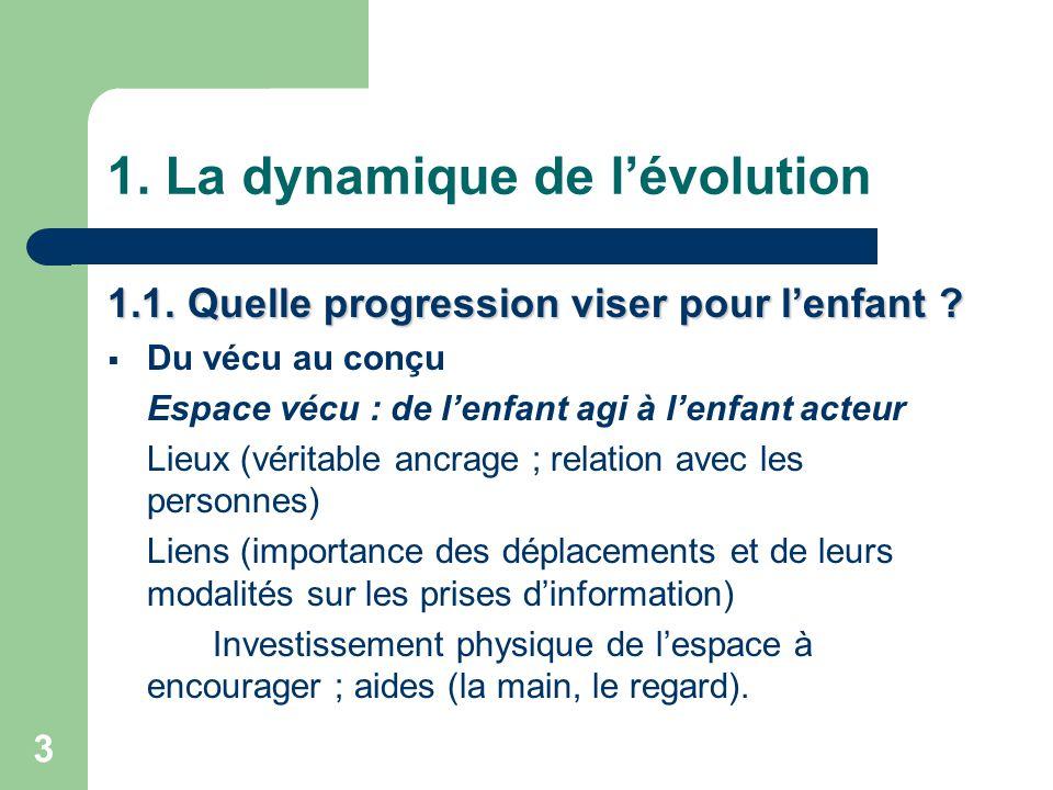3 1.La dynamique de l'évolution 1.1. Quelle progression viser pour l'enfant .