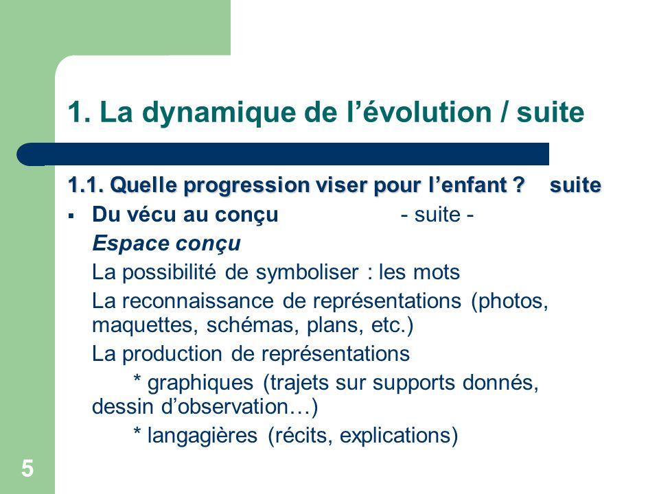 6 1.La dynamique de l'évolution / suite 1.1. Quelle progression viser pour l'enfant .