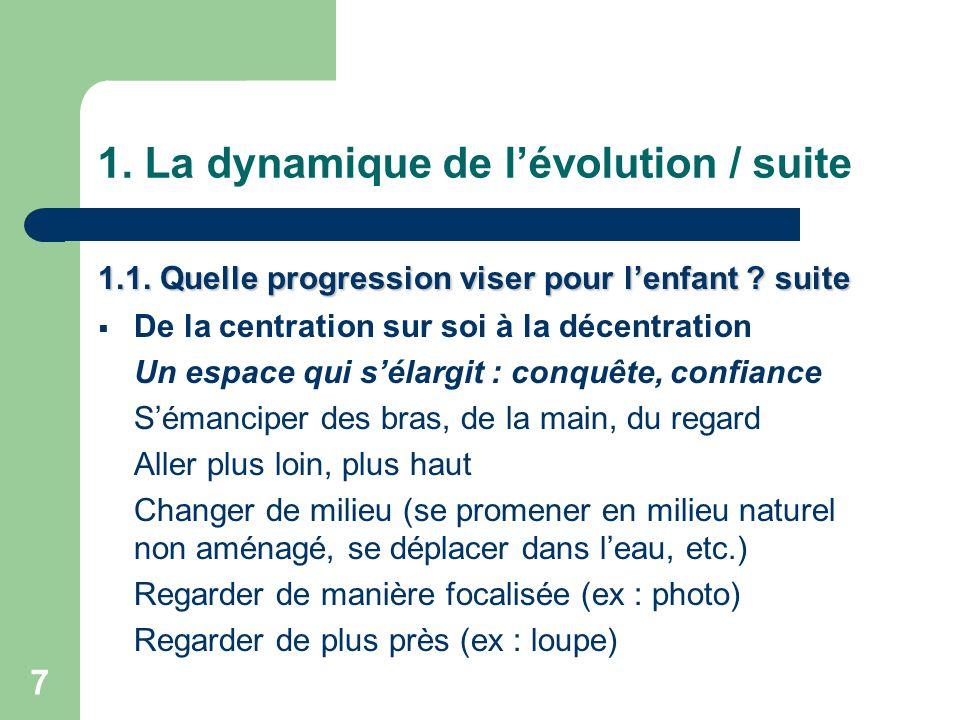 7 1.La dynamique de l'évolution / suite 1.1. Quelle progression viser pour l'enfant .