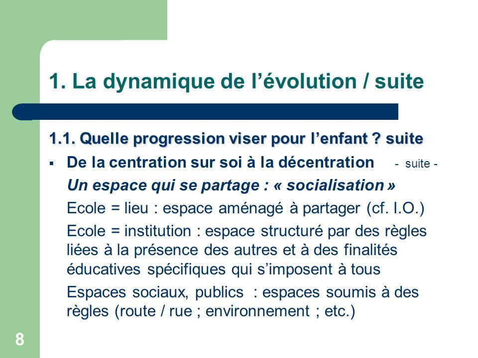 8 1.La dynamique de l'évolution / suite 1.1. Quelle progression viser pour l'enfant .