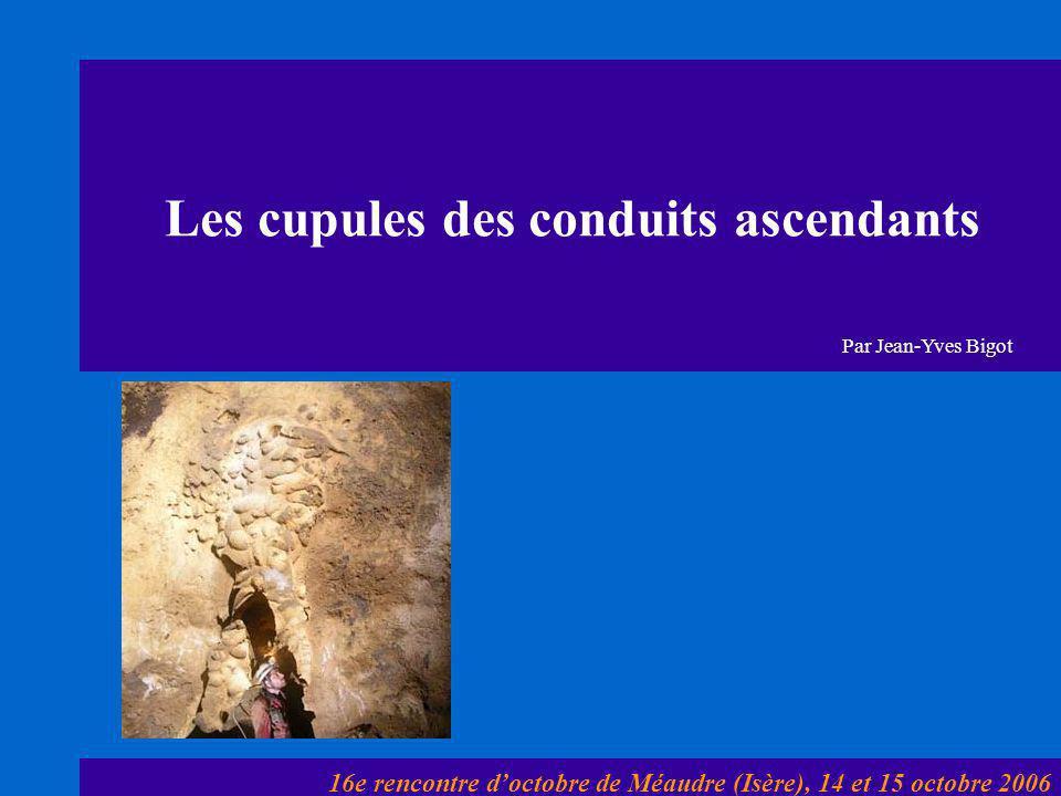 Les cupules des conduits ascendants 16e rencontre d'octobre de Méaudre (Isère), 14 et 15 octobre 2006 Par Jean-Yves Bigot