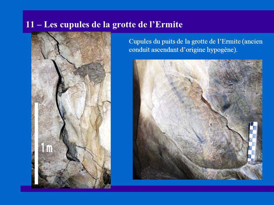 11 – Les cupules de la grotte de l'Ermite Cupules du puits de la grotte de l'Ermite (ancien conduit ascendant d'origine hypogène).