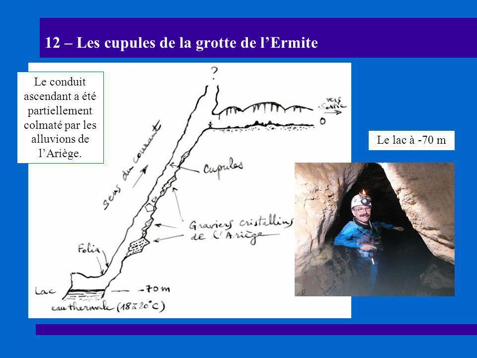12 – Les cupules de la grotte de l'Ermite Le conduit ascendant a été partiellement colmaté par les alluvions de l'Ariège. Le lac à -70 m