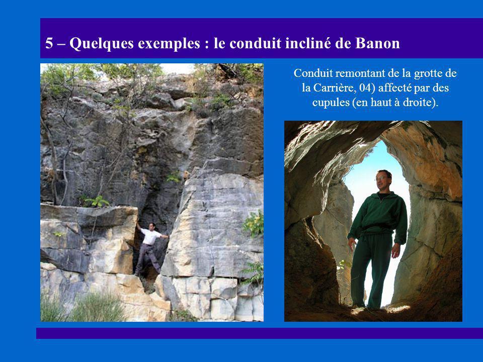 5 – Quelques exemples : le conduit incliné de Banon Conduit remontant de la grotte de la Carrière, 04) affecté par des cupules (en haut à droite).