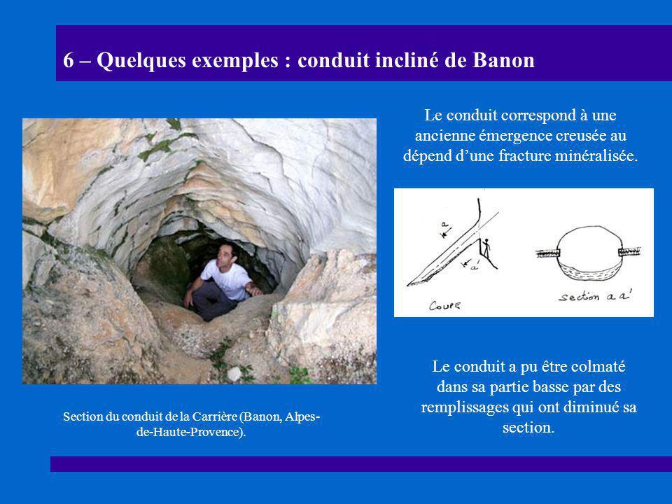 6 – Quelques exemples : conduit incliné de Banon Section du conduit de la Carrière (Banon, Alpes- de-Haute-Provence). Le conduit correspond à une anci