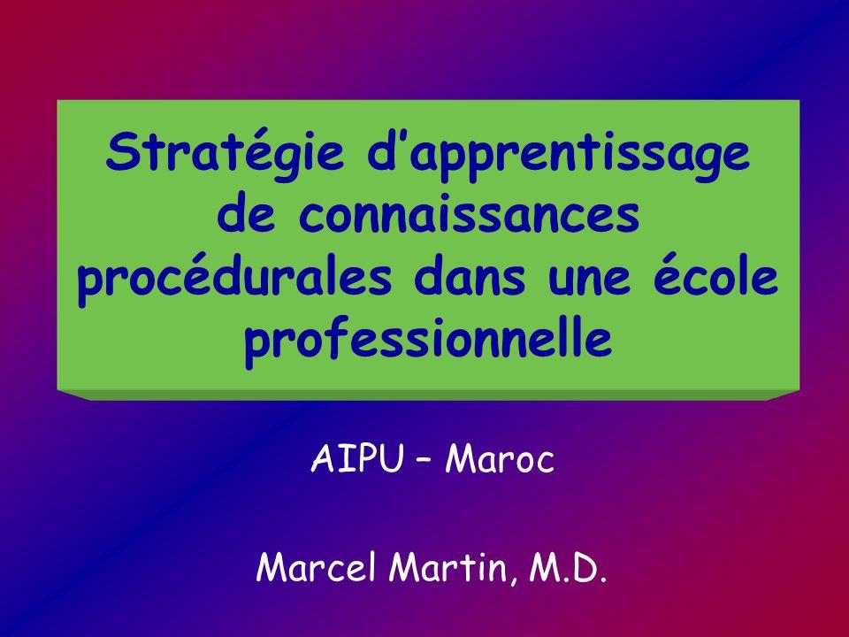 Stratégie d'apprentissage de connaissances procédurales dans une école professionnelle AIPU – Maroc Marcel Martin, M.D.
