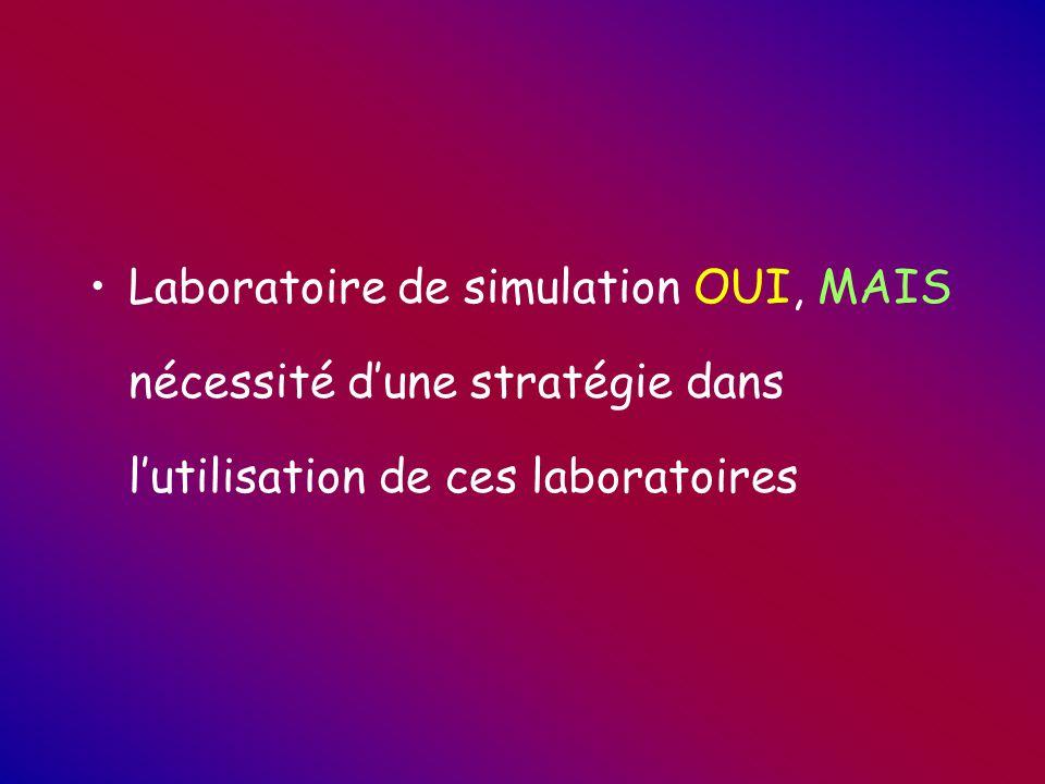 Laboratoire de simulation OUI, MAIS nécessité d'une stratégie dans l'utilisation de ces laboratoires
